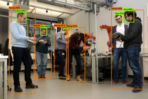 The FHWS project team from the point of view of the robot: The presence of persons, their position and probabilities of detection are recorded by means of a learning method based on artificial intelligence.